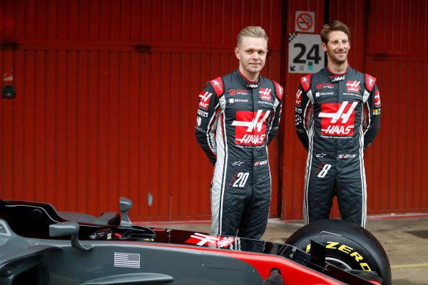HAAS F1 Car Formula 1 Launch. Barcelona, Spain  Monday 27 February 2017. Kevin Magnussen, Haas. and Romain Grosjean, Haas F1.  World Copyright: Dunbar/LAT Images Ref: _31I9953