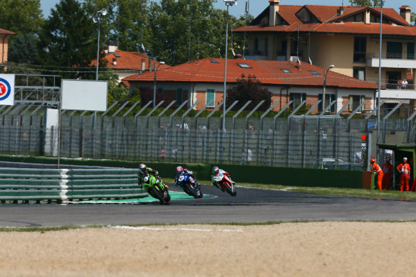 2017 Superbike World Championship - Round 5 Imola, Italy. Sunday 14 May 2017 Kenan Sofuoglu, Kawasaki Puccetti Racing, Lucas Mahias, GRT Yamaha Official WorldSSP Team, P.J. Jacobsen, MV Agusta World Copyright: Gold and Goose Photography/LAT Images ref: Digital Image 18824