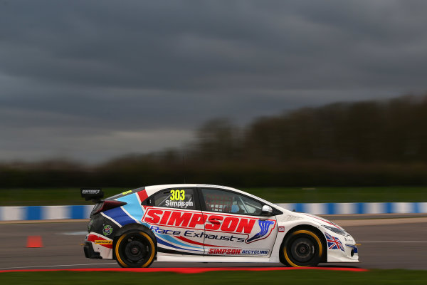 2017 British Touring Car Championship, Donington Park, England. 16th March 2017, Matt Simpson (GBR) Simpson Racing Honda Civic Type Rt World copyright. JEP/LAT Images