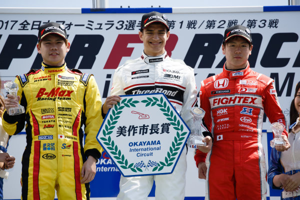 2017 Japanese Formula 3 Championship. Okayama, Japan. 1st - 2nd April 2017. Rd 1, 2 & 3. Rd.2 Winner Alex Palou ( #12 Three Bond Racing with DRAGO CORSE ) 2nd position Mitsunori Takaboshi ( #23 B-MAX NDDP F3 ) 3rd position Ritomo Miyata ( Corolla Chukyo Kuo TOM?S F314 ) podium, portrait. World Copyright: Masaaki Kitagawa / LAT Images. Ref: 2017JF3_Rd1_3_009