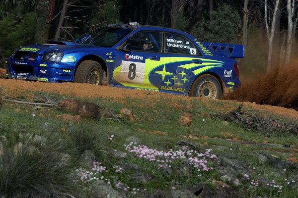 2003 FIA World Rally Champs. Round Ten Telstra Rally Australia 4th-7th September 2003.Tommi Makinen, Subaru, actionWorld Copyright: McKlein/LAT