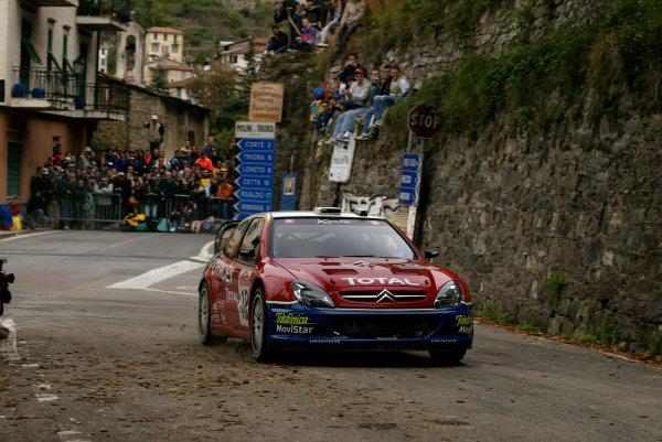 2003 FIA World Rally Champs. Round Eleven Sanremo Rally 2nd-5th October 2003.Sebastien Loeb, Citroen, action. World Copyright: McKlein/LAT