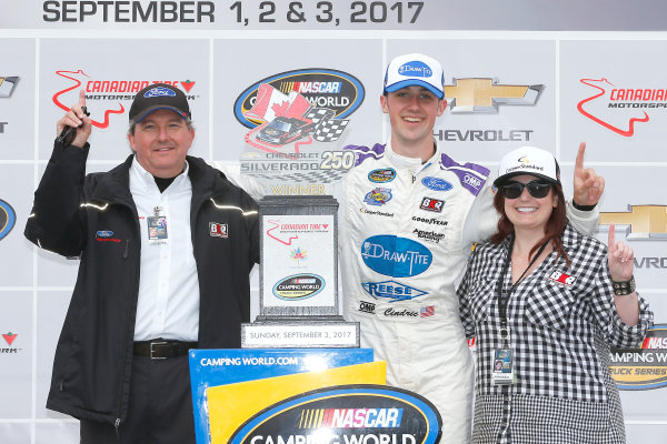 NASCAR Camping World Truck Series Chevrolet Silverado 250 Canadian Tire Motorsport Park Bowmanville, ON CAN Sunday 3 September 2017 Austin Cindric, Draw-Tite\Reese Ford F150 celebrates in victory lane World Copyright: Russell LaBounty LAT Images