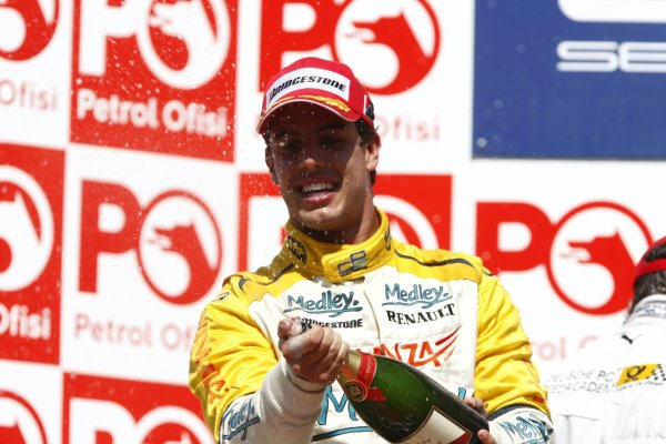 2007 GP2 Series. Round 8.Istanbul Park, Istanbul Turkey. 26th August 2007. Sunday Race.Xandi Negrao (BRA, Minardi Piquet Sports) celebrates his second position on the podium. World Copyright: Glenn Dunbar/GP2 Series Media Service.ref: Digital ImageIMG_5973