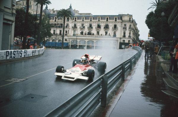1972 Monaco Grand Prix.  Monte Carlo, Monaco. 11-14th May 1972.  Jean-Pierre Beltoise, BRM P160B, 1st position, exits Casino Square.  Ref: 72MON20. World Copyright: LAT Photographic