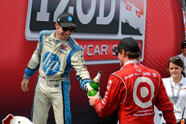 3-5 August, 2012, Lexington, Ohio USA3rd place Simon Pagenaud and winner Scott Dixon toast each other in Victory Lane.(c)2012, F. Peirce WilliamsLAT Photo USA