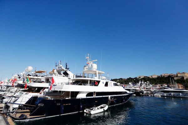 Monte Carlo, Monaco. Wednesday 20 May 2015. Yachts in the harbour. World Copyright: Charles Coates/LAT Photographic. ref: Digital Image _N7T0691