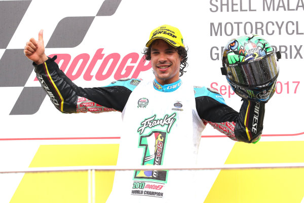 2017 Moto2 Championship - Round 17 Sepang, Malaysia. Sunday 29 October 2017 Podium: third place Franco Morbidelli, Marc VDS World Copyright: Gold and Goose / LAT Images ref: Digital Image 26796