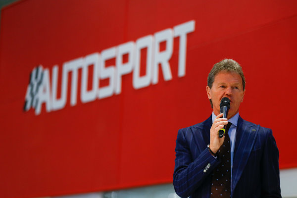 Autosport International Exhibition. National Exhibition Centre, Birmingham, UK. Thursday 11th January 2017. Malcolm Wilson talks to Henry Hope-Frost on the Autosport Stage.World Copyright: Ashleigh Hartwell/LAT Images ref: Digital Image _R3I8012