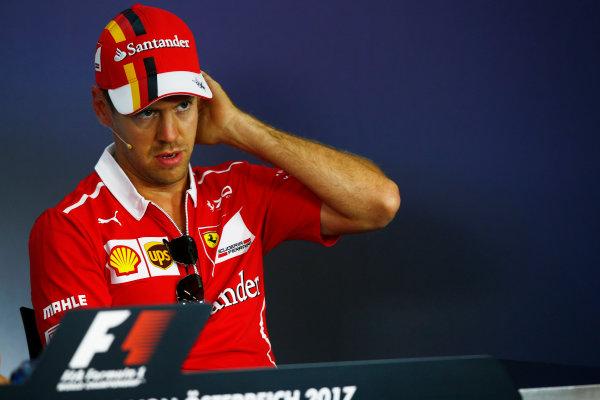 Red Bull Ring, Spielberg, Austria. Thursday 06 July 2017. Sebastian Vettel, Ferrari, in the Thursday press conference. World Copyright: Andy Hone/LAT Images ref: Digital Image _ONY9611