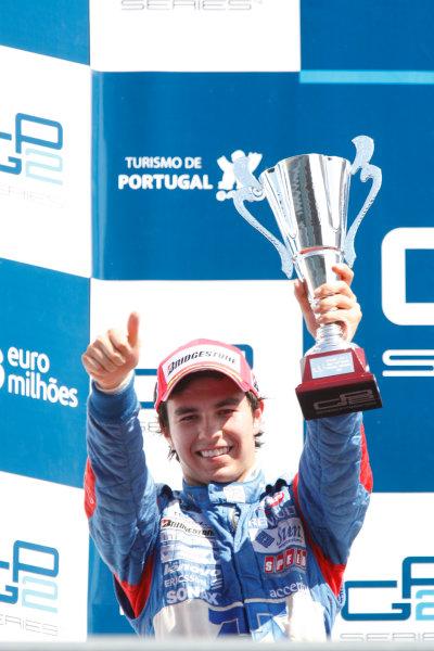 Sunday Race.Luca Filippi (ITA, Super Nova Racing) celebrates his victory on the podium. World Copyright: Glenn Dunbar / GP2 Series Media Service.Ref: _3GD3274 jpg