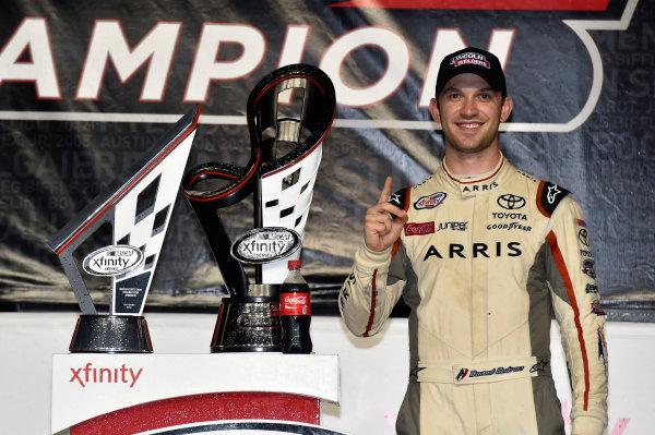 18-19 November, 2016, Homestead, Florida USA Daniel Suarez, Arris Toyota Camry celebrates his Championship win in Victory Lane © 2016, Nigel Kinrade LAT Photo USA
