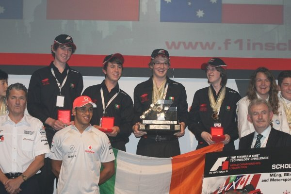 Lewis Hamilton (GBR) McLaren with the winning Irish team.