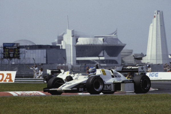 1983 Canadian Grand Prix  Montreal, Canada. 10-12 June 1983.  Keke Rosberg, Williams FW08C Ford, 4th, leads team-mate Jacques Laffite, retired.  Ref: 83CAN17. World Copyright - LAT Photographic