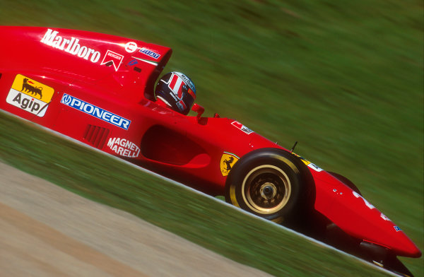 Imola, Italy.29/4-1/5 1994.Gerhard Berger (Ferrari 412T1). He exited the race after with a wheel problem.Ref-94 SM 53.World Copyright - LAT Photographic