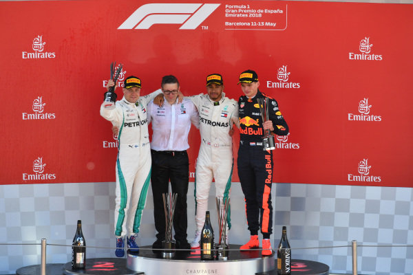(L to R): Bonnington (GBR) Mercedes AMG F1 Race Engineer, Valtteri Bottas (FIN) Mercedes-AMG F1, Lewis Hamilton (GBR) Mercedes-AMG F1 and Max Verstappen (NED) Red Bull Racing celebrate  on the podium