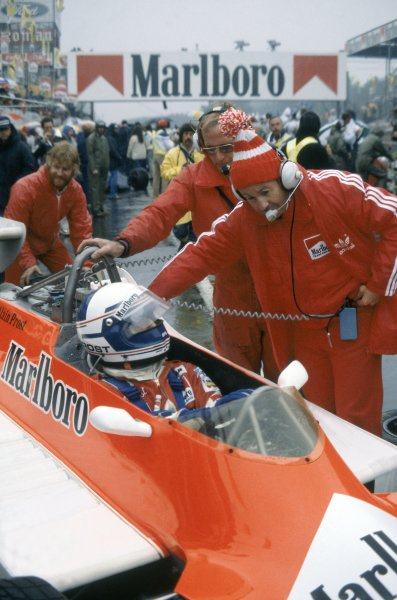 1980 Belgian Grand Prix.Zolder, Belgium. 2-4 May 1980.Team Manager Teddy Mayer talks to Alain Prost (McLaren M29-Ford Cosworth).World Copyright: LAT PhotographicRef: 35mm transparency 80BEL13