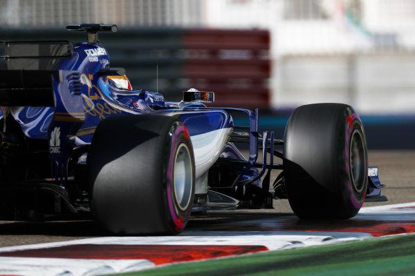 Yas Marina Circuit, Abu Dhabi, United Arab Emirates. Wednesday 29 November 2017. Charles Leclerc, Sauber C36 Ferrari.  World Copyright: Zak Mauger/LAT Images  ref: Digital Image _56I6579