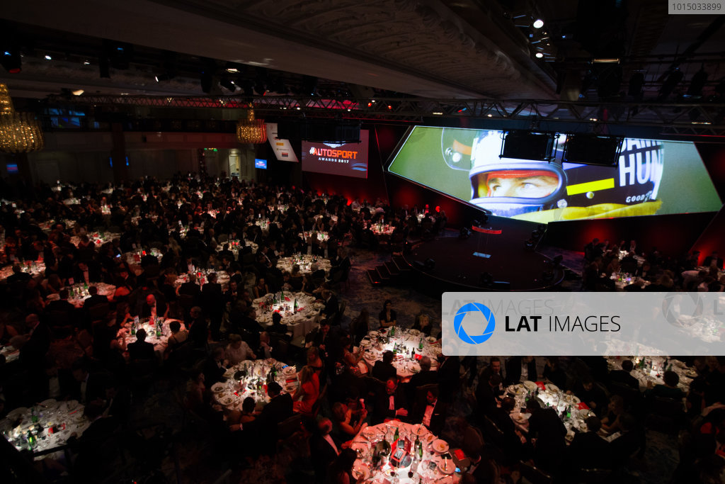2017 Autosport Awards Grosvenor House Hotel, Park Lane, London. Sunday 3 December 2017. James Hunt on the big screen. World Copyright: Joe Portlock/LAT Images  ref: Digital Image _L5R7878