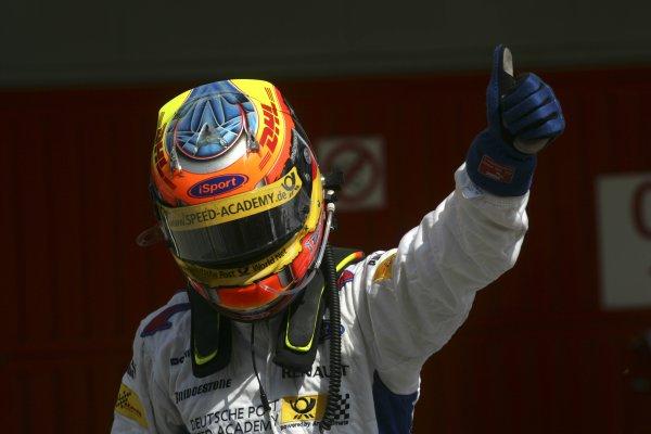 2007 GP2 Series. Round 2. Sunday RaceBarcelona, Spain. 13th May 2007. Timo Glock (GER, iSport International) celebrates victory. World Copyright: Andrew Ferraro/GP2 Series Media Sevice  ref: Digital Image ZP9O7150