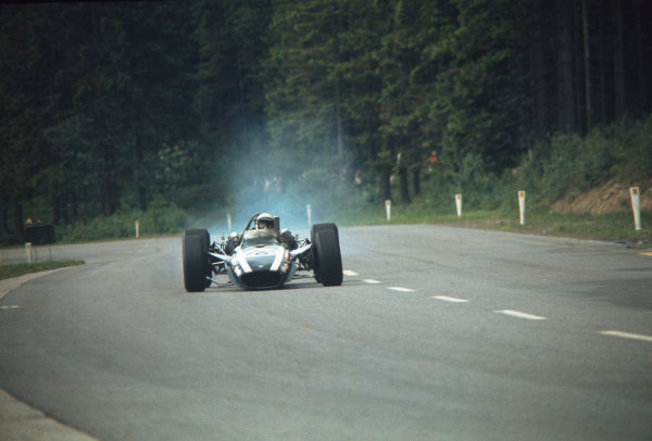 Spa-Francorchamps, Belgium. 7-9 June 1968.  Brian Redman (Cooper T86B BRM) about to crash at Les Combes due to front suspension damage. The car hit a barrier and some parked cars and caught fire, seriously injuring a marshal and leaving Redman with burns and a broken arm.  Ref: 68BEL08. World Copyright: Peter Burn/LAT Photographic