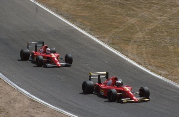 Alain Prost leads his Ferrari team mate Nigel Mansell German GP, Hockenheim, Germany, 29 July 1990