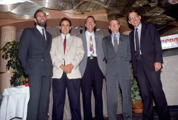 1990 Autosport 40th Anniversary Party. Roof Gardens, Kensington, England. 21st August 1990. Former Editors gather, L-R, Peter Foubister (1988-1994), Quentin Spurring (1976-1988), Ian Phillips (1973-1976), Richard Feast (1972-1973) and Simon Taylor (1968-1971), portrait. World Copyright: LAT Photographic.