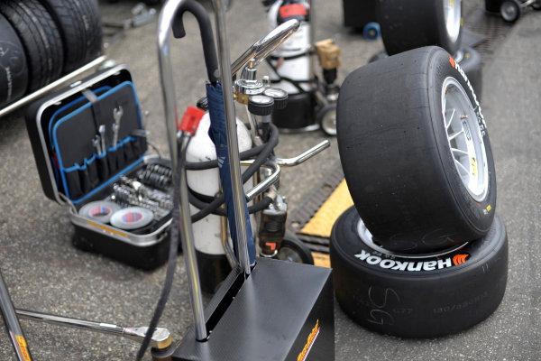 2014 FIA European F3 Championship Round 2 - Hockenheim, Germany 3rd - 4th April tires, pit lane, work, tools World Copyright: XPB Images / LAT Photographic  ref: Digital Image 3078563_HiRes