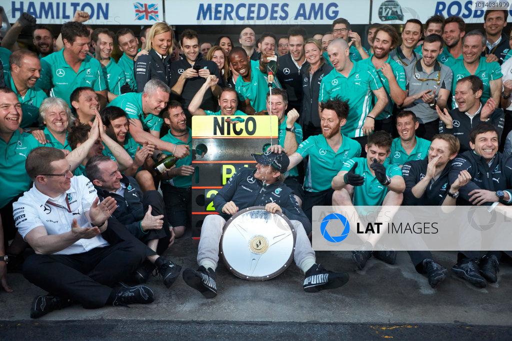 Albert Park, Melbourne, Australia. Sunday 16 March 2014. Nico Rosberg, Mercedes AMG, 1st Position, celebrates with his team. World Copyright: Steve Etherington/LAT Photographic. ref: Digital Image SNE13865 copy