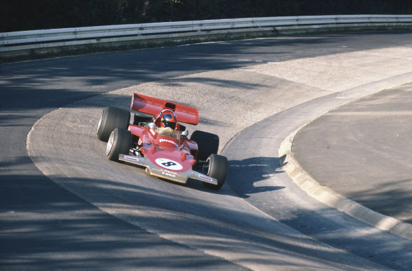 1971 German Grand Prix.  Nurburgring, Germany. 30th July - 1st August 1971.  Emerson Fittipaldi, Lotus 72D Ford, at the Karussell.  Ref: 71GER19. World Copyright: LAT Photographic