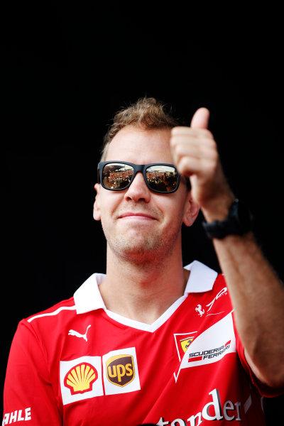 Sepang International Circuit, Sepang, Malaysia. Saturday 30 September 2017. Sebastian Vettel, Ferrari. World Copyright: Zak Mauger/LAT Images  ref: Digital Image _X0W7573