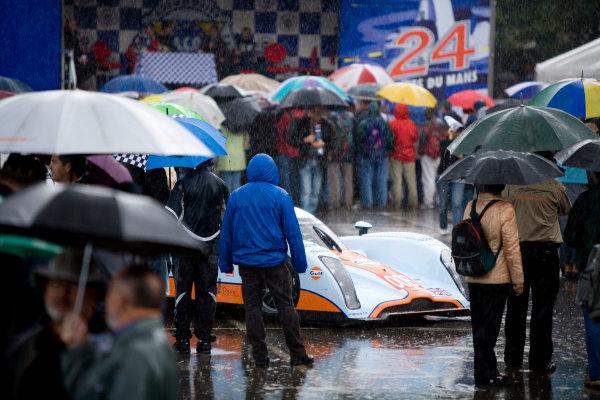 Circuit de La Sarthe, Le Mans, France. 8th - 14th June 2009. The car of Jos Verstappen / Darren Turner / Anthony Davidson, (Aston Martin Racing) Lola Aston Martin in the rain at scrutineering.Atmosphere. World Copyright: Drew Gibson/LAT Photographic. ref: Digital Image _Y8P9029