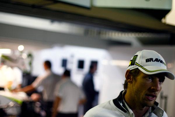 Interlagos, Sao Paulo, Brazil.17th October 2009.Jenson Button, Brawn GP BGP001 Mercedes.  Portrait. World Copyright: Charles Coates/LAT Photographicref: Digital Image _26Y2469