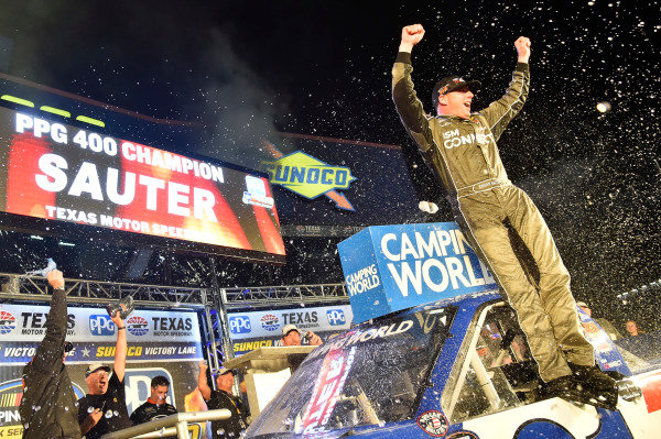 #21: Johnny Sauter, GMS Racing, Chevrolet Silverado ISM Connect celebrates his win
