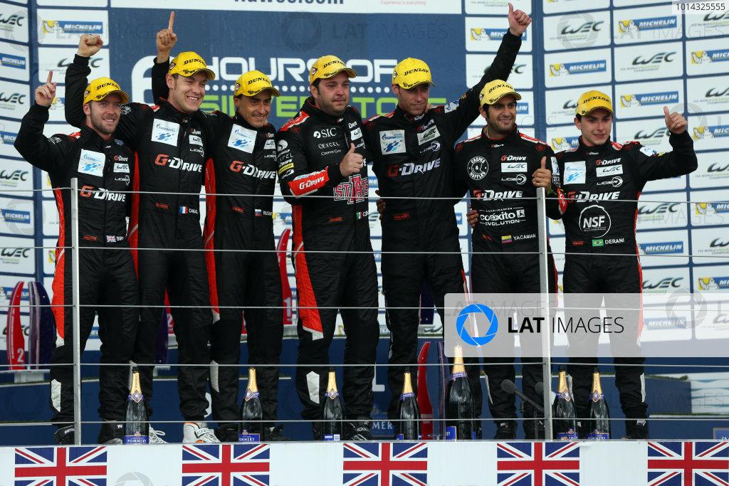 2015 FIA World Endurance Championship, Silverstone, England. 10th-12th April 2015 P2 Podium, Roman Rusinov (RUS) / Julien Canal (FRA) / Sam Bird (GBR) Ligier JS P2 - Nissan wins World copyright. Ebrey/LAT Photographic