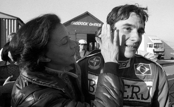 Race winner and 1983 British Formula 3 Champion Ayrton Senna (GBR) West Surrey Racing is congratulated by his mother Neide Senna da Silva (BRA). British Formula 3 Championship, Rd18, Marlboro Championship Race, Thruxton, England, 23 October 2013.