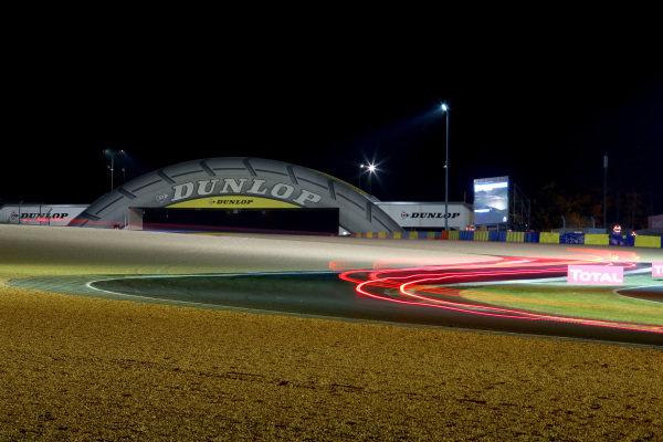 Night action at the Dunlop Bridge. Le Mans 24 Hours, Le Mans, France, 12-14 June 2014.