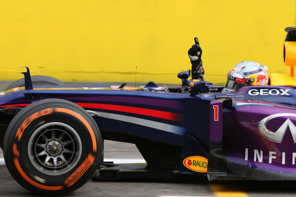 Sebastian Vettel (GER) Red Bull Racing RB9 crosses the line to win his third Italian Grand Prix. Formula One World Championship, Rd12, Italian Grand Prix, Race, Monza, Italy, Sunday 8 September 2013.  BEST IMAGE