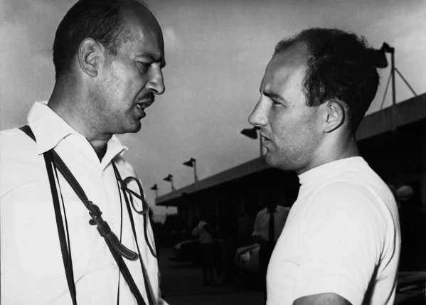Monza, Italy. 29th June 1958. Stirling Moss (Eldorado Maserati Special),4th in heat 1, 5th in heat 2 and retired in heat 3, portrait. The race was also known as Monzanapolis. World Copyright: LAT Photographic. Ref: Autocar B/W Print Only
