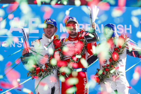 Robin Frijns (NLD), Envision Virgin Racing, 2nd position, Jérôme d'Ambrosio (BEL), Mahindra Racing, 1st position, and Sam Bird (GBR), Envision Virgin Racing, 3rd position, on the podium