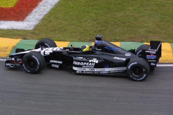 2001 Brazilian Grand Prix.Interlagos, Sao Paulo, Brazil. 30/3-1/4 2001.Tarso Marques (Minardi PS01 European). World Copyright - LAT Photographicref: 8 9 MB Digital
