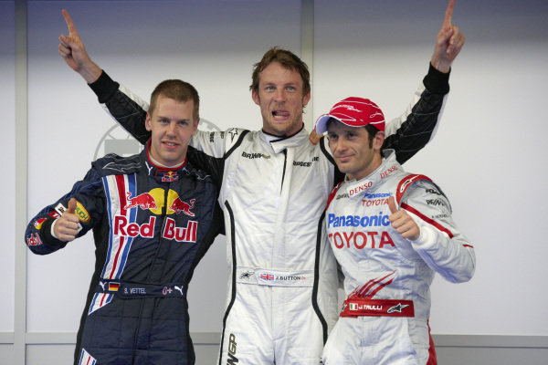 Top 3 fastest in qualifying: Sebastian Vettel, 2nd position, pole sitter Jenson Button and Jarno Trulli, 3rd position.