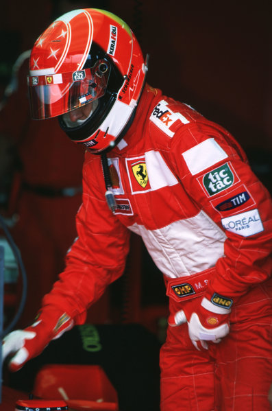 2000 French Grand Prix.Magny-Cours, France. 30/6-2/7 2000.Michael Schumacher (Ferrari).World Copyright - LAT PhotographicFormat: 35mm transparency
