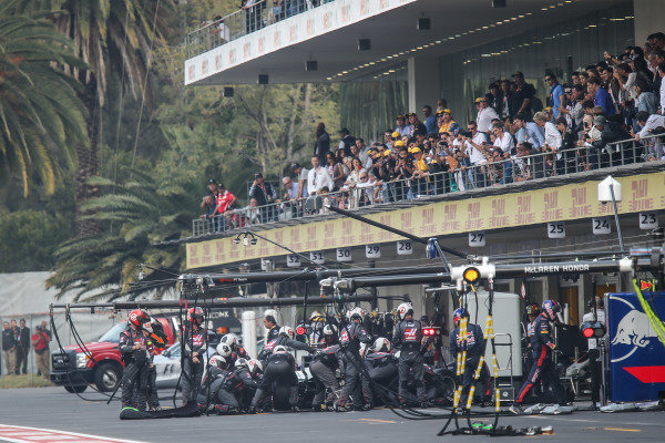 Romain Grosjean (FRA) Haas VF-17 makes a pitstop at Formula One World Championship, Rd18, Mexican Grand Prix, Race, Circuit Hermanos Rodriguez, Mexico City, Mexico, Sunday 29 October 2017.