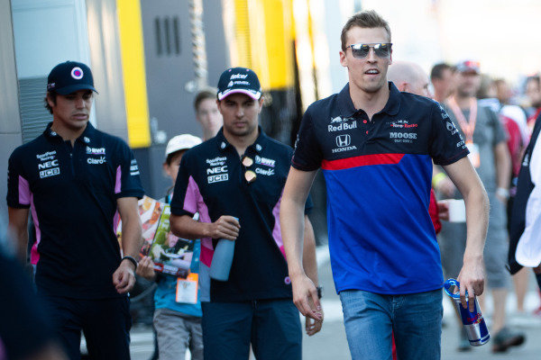 Daniil Kvyat, Toro Rosso, Sergio Perez, Racing Point, and Lance Stroll, Racing Point