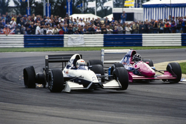 Andrea de Cesaris, Tyrrell 020B Ilmor, suffers a puncture and allows Damon Hill, Brabham BT60B Judd, through.
