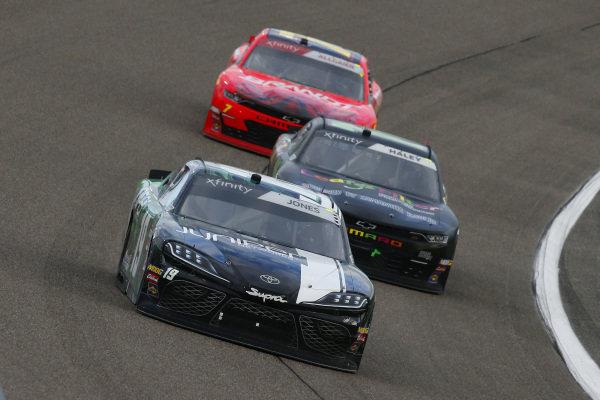 #19: Brandon Jones, Joe Gibbs Racing, Toyota Supra Juniper and #11: Justin Haley, Kaulig Racing, Chevrolet Camaro LeafFilter Gutter Protection