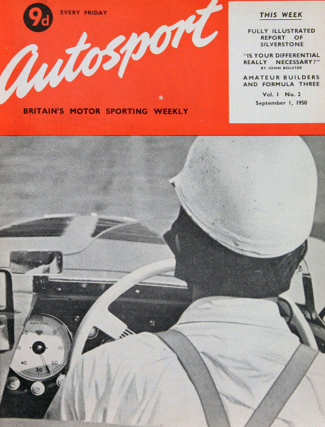 Cover of Autosport magazine, 1st September 1950. Main Picture: Cockpit view of Gil Tyrer in his B.M.W. at medium revs before a sprint event.