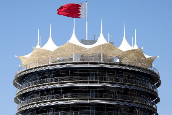 Bahrain tower and flag. Formula One Testing, Day One, Bahrain International Circuit, Sakhir, Bahrain, Wednesday 19 February 2014.