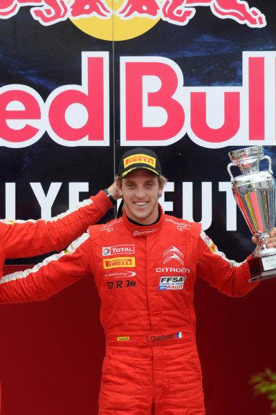 Sebastien Chardonnet (FRA), WRC3 winner on the podium.FIA World Rally Championship, Rd9, ADAC Rally Germany, Day Four, Trier, Germany, 25 August 2013.